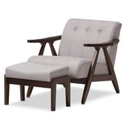 Wholesale Interiors Enrico Mid-Century Modern Lounge Chair and Ottoman