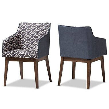 Wholesale Interiors Eric Mid-Century Modern Patterned Fabric Lounge Chair (Set of 2)