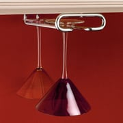 Rebrilliant Modern Hanging Metal Wine Glass Rack; Chrome