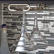 Rebrilliant Modern Hanging Metal Wine Glass Rack; Satin Nickel