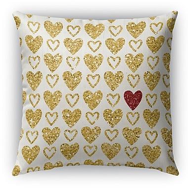 Kavka Heart Burlap Indoor/Outdoor Throw Pillow; 16'' H x 16'' W