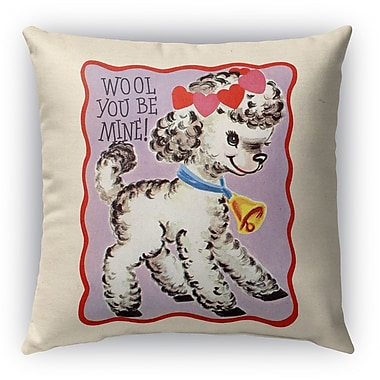 Kavka Wool You Be Mine Burlap Indoor/Outdoor Throw Pillow; 16'' H x 16'' W