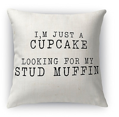 Kavka Cupcake Looking for a Stud Muffin 2 Indoor Throw Pillow; 16'' H x 16'' W