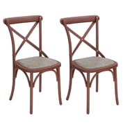AdecoTrading Eco-Friendly Nylon Vintage Side Chair (Set of 2); Reddish Brown