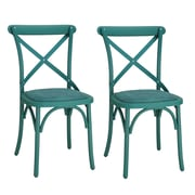 AdecoTrading Eco-Friendly Nylon Vintage Side Chair (Set of 2); Teal