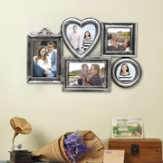 AdecoTrading 5 Opening Plastic Picture Frame; Antique Silver