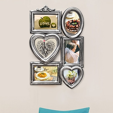 AdecoTrading 6 Opening Plastic Picture Frame; Antique Silver