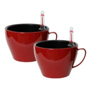 Algreen Modena Cup Self-Watering Plastic Pot Planter (Set of 2); Gloss Red