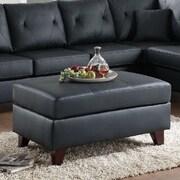 A&J Homes Studio Orme Leather Ottoman; Black