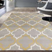 Charlton Home Freeman Gray / Yellow Area Rug; 5' x 7'