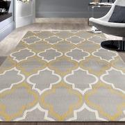 Charlton Home Freeman Gray / Yellow Area Rug; 5' x 7'
