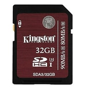 Kingston® Class 3/UHS-I SDHC Flash Memory Card, 32GB, Black (SDA3/32GB)