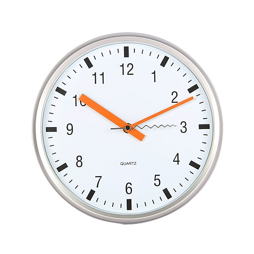 "TEMPUS Modern Wall Clock with Silent Sweep Quiet Movement, Plastic 10"", Silver and Orange (STC1508FE)"
