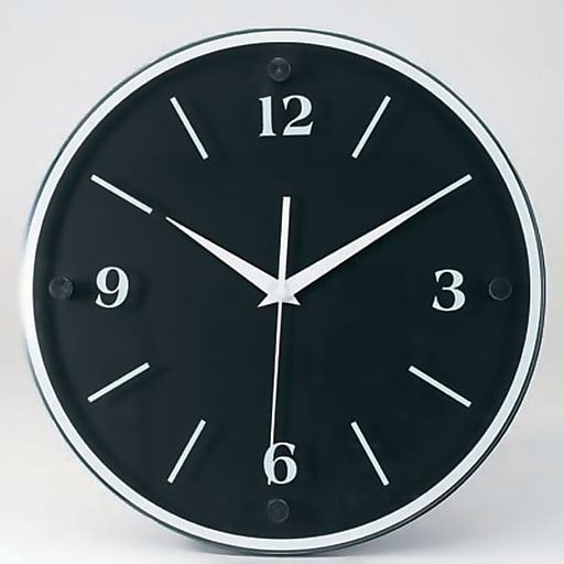 "TEMPUS Transitional Wall Clock with Daylight Savings Auto-Adjust Movement, Wood 12"", Black Face and Frame (TC6011B)"