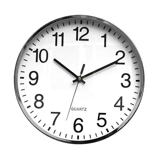 """TEMPUS Contemporary Wall Clock with Silent Sweep Quiet Movement, Metal 12"""", Chrome (TC6645AP)"""