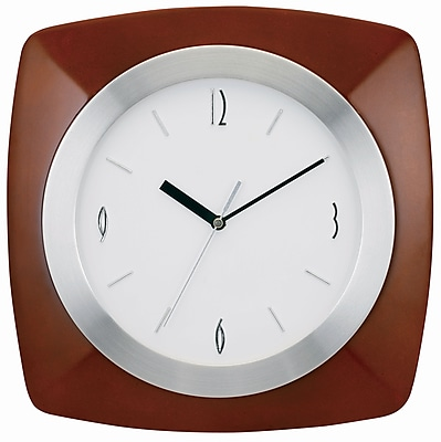 TEMPUS Transitional Wall Clock with Daylight Savings Auto-Adjust Movement, Wood 12