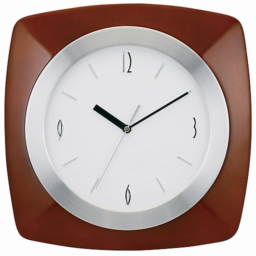 "TEMPUS Transitional Wall Clock with Daylight Savings Auto-Adjust Movement, Wood 12"", Walnut Finish (TC7902BR)"