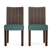 Bay Isle Home Kontemenos Rattan Side Chair (Set of 2); Peacock Blue