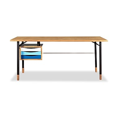 Kardiel Color Theory Mid-Century Modern 3 Drawer Writing Desk; Natural/Blue