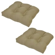 Winston Porter Tufted Outdoor Dining Chair Cushion (Set of 2); Celery