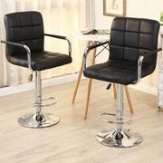 Belleze Modern Adjustable Height Swivel Bar Stool (Set of 2); Black