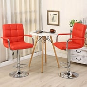 Belleze Modern Adjustable Height Swivel Bar Stool (Set of 2); Red