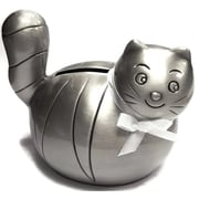 Elegance Cat Money Bank with White Ribbon, Pewter-Plated (88615)