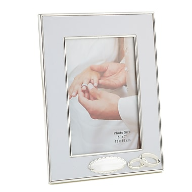 Elegance Wedding Ring Photo Frame with Engraving Area, Silver, 5