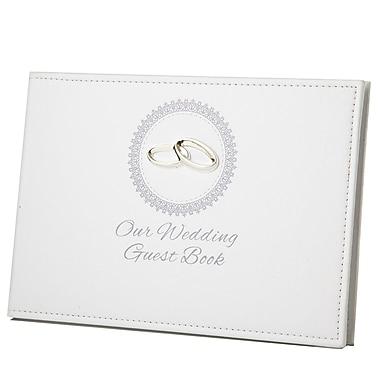 Elegance – Livre d'invités « Our Wedding » avec décoration en relief formant des alliances et plaque pour gravure (87001)