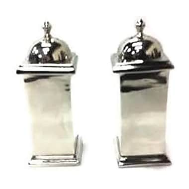 Elegance Squared Design Salt & Pepper Shaker Set, Nickel-Plated (72950)