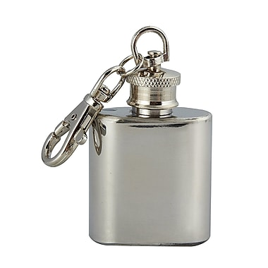 Elegance Flask on Key Ring, 1 oz, Stainless Steel (73104)