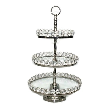 Elegance 3-Tier Glass Cake Stand, Detachable Crystal Border, Nickel-Plated, 8