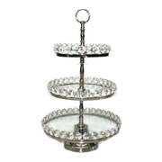 "Elegance 3-Tier Glass Cake Stand, Detachable Crystal Border, Nickel-Plated, 8""/10""/12"" (72903)"