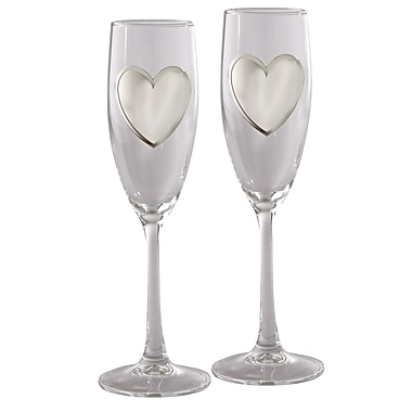 Elegance Pair of Toasting Flutes with Engraving Badge (32074)