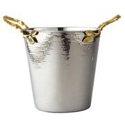 Elegance – Seau à champagne, feuilles dorées/acier inoxydable martelé (70026)