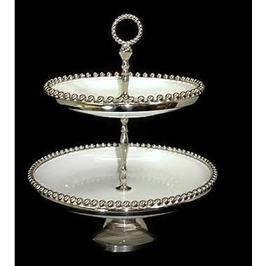 Elegance Bead Ceramic 2-Tier Tray (72034)
