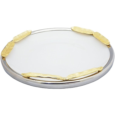 Elegance Gold Feather Ceramic Round Platter (72052)