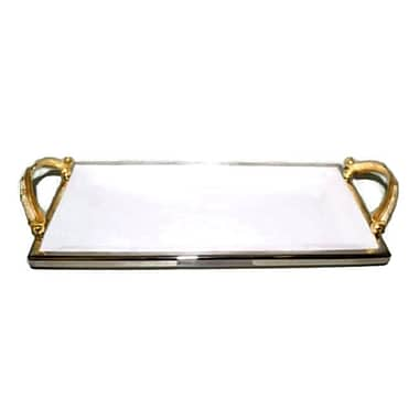 Elegance Gold Feather Ceramic Rectangular Tray with Handle (72054)