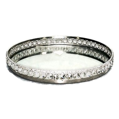 Elegance Sparkle Round Mirror Tray with Beaded Crystals (72837)