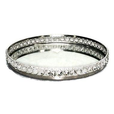 Elegance – Plateau étincelant miroir rond orné de cristaux (72837)