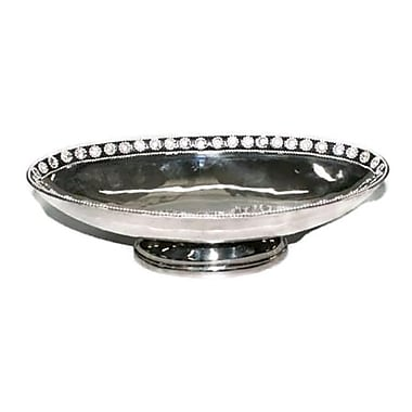 Elegance Footed Oval Bowl with Small Chatons, Nickel-Plated (72906)