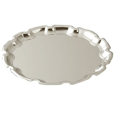 Elegance Round Chippendale Tray, Nickel-Plated, 10