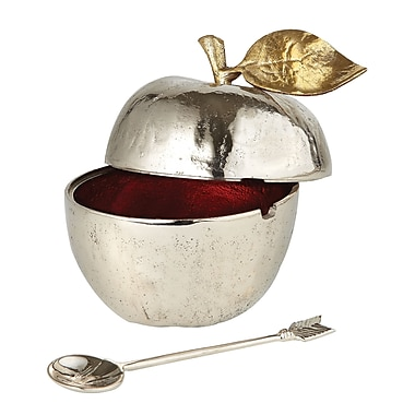 Elegance Honey Pot with Spoon, Gilt Accents (70050)