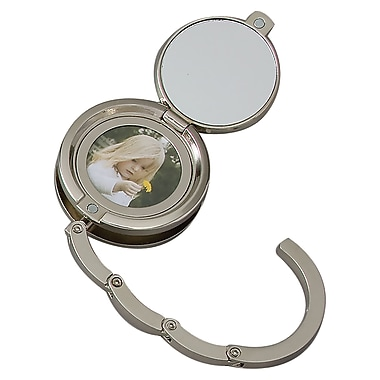Elegance Combination Round Compact Mirror & Handbag Hook, Black Crystal (13772)