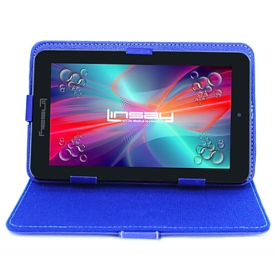 "LINSAY F7XHDBCBLUEPOLO 7"" Quad Core Tablet w/ Blue Case Android"