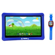 """LINSAY 10"""" Quad Core Tablet w/ Kids Defender Case Android and 1.5"""" Smart Watch Kids Cam Selfie, Assorted Colors"""
