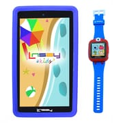 "LINSAY F7KBWB 7"" Quad Core Tablet w/ Blue Kids Defender Case Android and 1.5"" Smart Watch Kids Cam Selfie Blue"