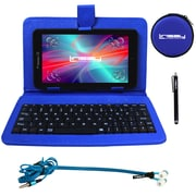 "LINSAY F7XHDBKB 7"" Quad Core Tablet w/ Blue Keyboard, Earphones and Stylus Pen Android"