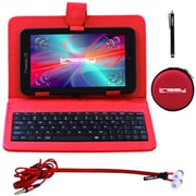 "LINSAY F7XHDBKR 7"" Quad Core Tablet w/ Red Keyboard, Earphones and Stylus Pen Android"