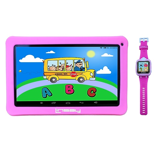 """LINSAY 10"""" Quad Core Tablet, WiFi, 1GB RAM, Android with Kids Defender Case and 1.5"""" Kids Smart Watch, Pink (F10KPWP)"""